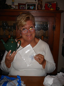 Mom with her teapot from Harrods!