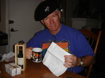 Dad with his port, coffee mug, chocolates, and of course...the beret.