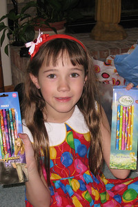 Celebrating Rachel's 8th Birthday in Fort Collins - pencils from Berta and Cheryl