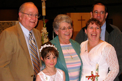 Rachel's First Communion and Tracy's RCIA - Easter Vigil Service at Natavity of Our Lord Catholic Church - Grady, Rachel, Mary Clare, Tracy and John