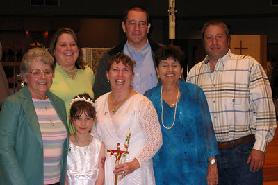 Rachel's First Communion and Tracy's RCIA - Easter Vigil Service at Natavity of Our Lord Catholic Church - Mary Clare, Kathy, John, Andy, Rosalie, Tracy, and Rachel