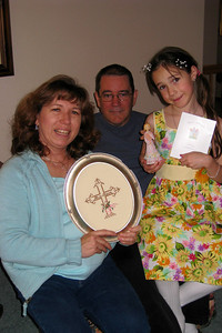 Easter Dinner 2009 in CO - John, Tracy, Rachel, Dean, and Rosalie and Denver friends Jim and Leta Olson joined Grady, Mary Clare, Kathy and Andy for Easter Dinner - John Kane family sharing their gifts from Bill and Myra Kane