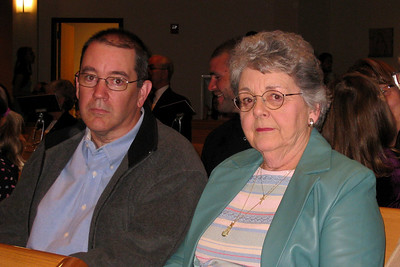 Rachel's First Communion and Tracy's RCIA - Easter Vigil Service at Natavity of Our Lord Catholic Church - John and Mom waiting for the events to start  Tracy surprised Grandma, Grandpa, and Andy with the news she was becoming Catholic during this service and receiving her First Communion with Rachel!