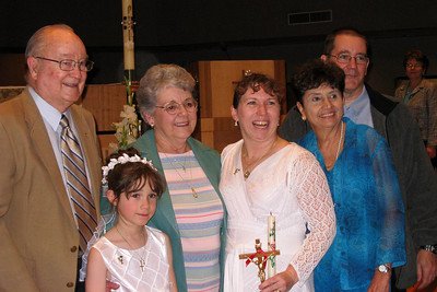 Rachel's First Communion and Tracy's RCIA - Easter Vigil Service at Natavity of Our Lord Catholic Church - Grady, Rachel, Mary Clare, Tracy, Rosalie, and John