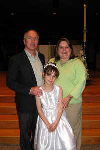 Rachel's First Communion and Tracy's RCIA - Easter Vigil Service at Natavity of Our Lord Catholic Church - Godparents Dean and Kathy with Rachel