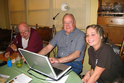 Grady and Mary Clare drove to Denison to visit with Bill and Myra in April - It's always a great excuse for dinner and a party! Grady updating his geneaology information with help from Bill and Caroline. Bill and Myra: Russ, Cheryl, and Caroline; Michael, Kelly, Kasen and Summer; Kelley, Chuck and Kane; Robert; David; Kathy; Shorty and Cheryl Giacomazzi