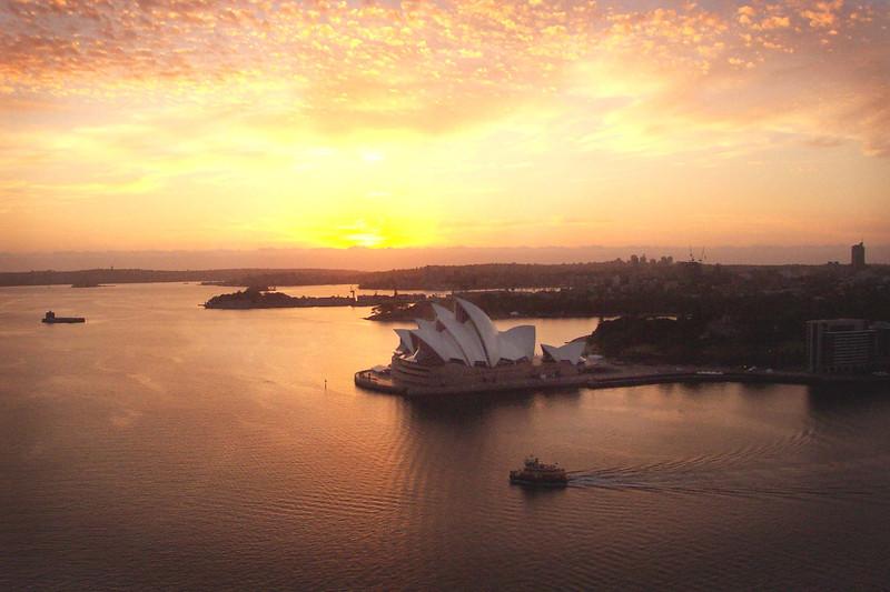 Sydney Operat House as viewed from Sydney Harbour Bridge. Photo courtesy of BridgeClimb