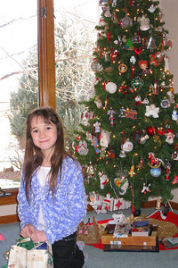 Christmas 2008 in CO - Rachel in front of the Christmas tree