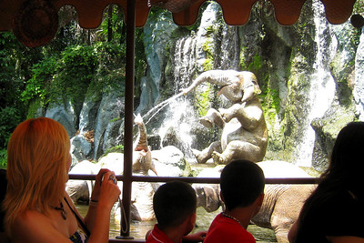 Adventureland - We saw elephants bathing and toured a temple - while listening to an amusing, though corny, spiel delivered by the skipper during our Jungle cruise experience! It was corny but cute! Before leaving Adventureland, we enjoyed the Pirates of the Caribbean attraction. This cruise is a Disneyland original. Guests board a small boat and set sail for a series of scenes showing a pirate raid on a Caribbean island town, dodging cannon fire and weathering one small, though legitimate, watery dip along the way. Fri – 05/29/09