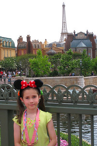 Rachel wanted to see the Eiffel Tower - unfortunately, it's behind the scenes but we were able to get a picture of Rachel with the tower in the background. Thu - 5/28/09