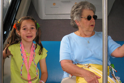 Rachel and Mary Clare enjoying their first ride on the Monorail which stops at the Polynesian making it a great place to stay for our vacation. The monorail stopped at Magic Kingdom and the Transportation Center which linked to the Epcot monorail. Thu - 5/28/09