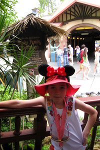 Our first stop in Adventureland was the Swiss Family Treehouse. Rachel is posing in front of the sign. The treehouse from Disney's 1960 rendition of the classic story Swiss Family Robinson has many levels and comforts - patchwork quilts, lovely mahogany furniture, candles stuck in abalone shells, even running water in every room. Fri – 05/29/09