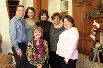 Laura Gee and Jason Matthews Wedding Shower - Bride and Groom-to-be with Hostesses Becky, Claudia, Kathy, and Cheryl