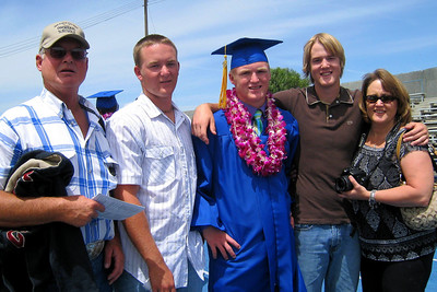 Roth family celebrating the last to graduate from King City High School - Frank, Ryan, Nathan, Grady, and Betsy