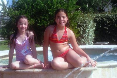 Rachel swimming with Sara Fowler