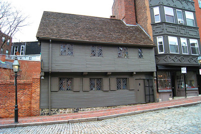 "Day 2 – Built around 1680, the Paul Revere House in the North End is a reminder that for Boston's first 2 centuries, buildings were mostly made of wood, and huge portions of the town regularly burned to the ground. The house is colonial in age but Tudor, rather than typically ""colonial"", in style. The casement windows and overhanging second floor are medieval features, and when the Reveres moved in, in 1770, the house was no longer fashionable."