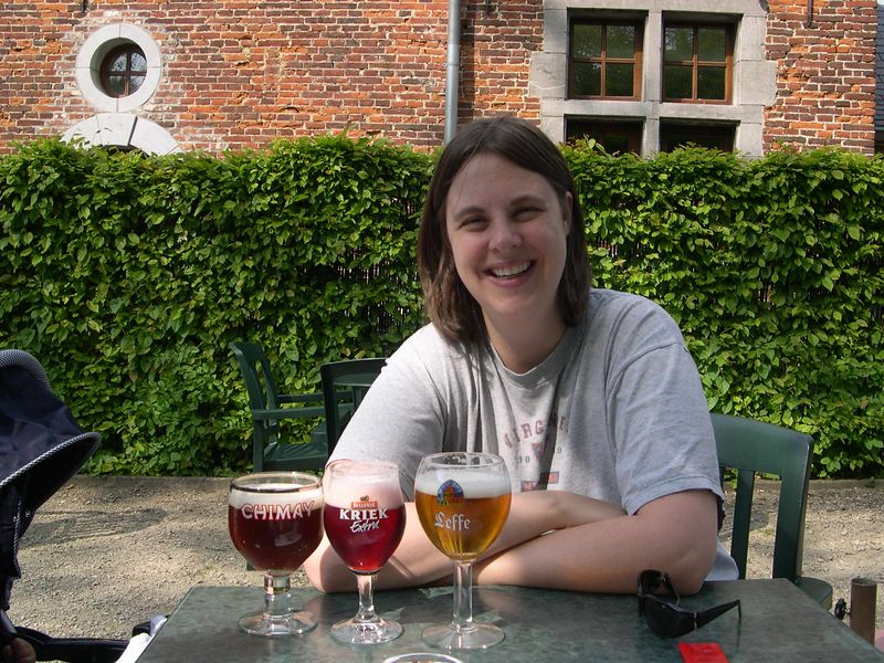 Katie relaxes from her castle tour with a selection of Belgium beer.
