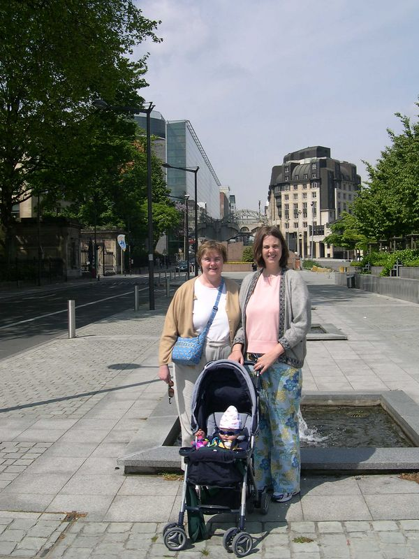 Susan and Katie with Jonathan near the European Commission buildings.