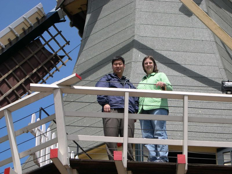 Katie and Chris climbed a windmill in the gardens.