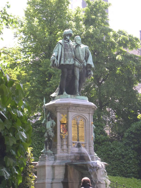 The Counts of Egmont in a park near Sablon.