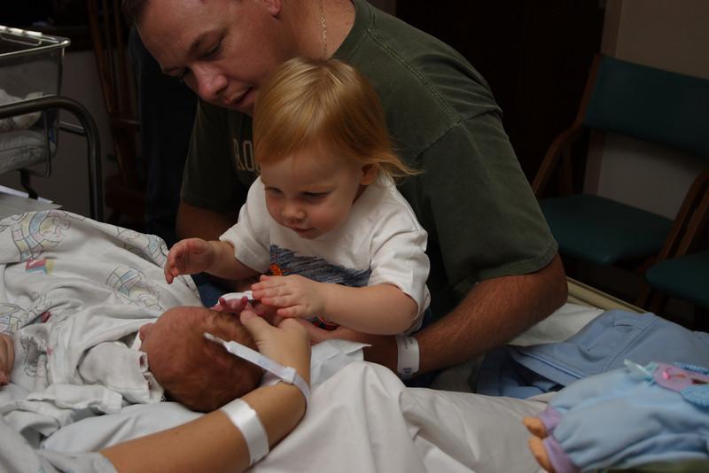 Katie meets Matthew <br /> At the hospital when Matthew was born