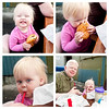 Katie eats her first burger by hand and sips on a milkshake at Zippy's Giant Burgers