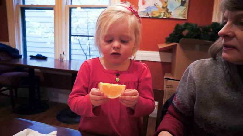 Katie attempts to reenact a famous lemon face from our 2011 trip to California. Too bad it was an orange.