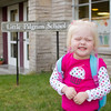 Katie's first day of preschool at Little Pilgrim School.  The light's on...time to go!