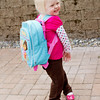 Katie's first day of preschool at Little Pilgrim School.  Check out her Dora backpack.