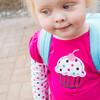 Katie's first day of preschool at Little Pilgrim School.