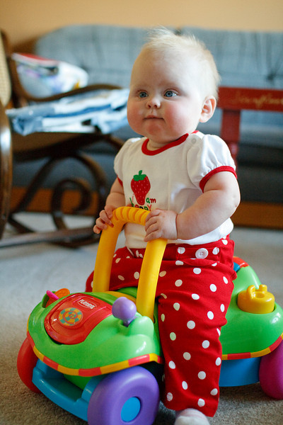Katie takes quickly to Braelyn's car toy