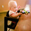 Week 35 - Katie's first time in a high chair at a restaurant