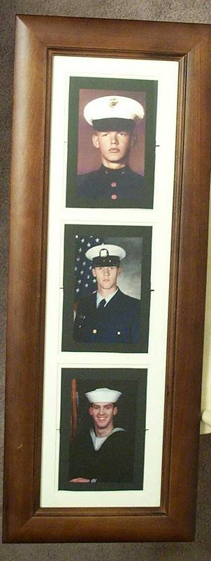 a picture of pictures of Dad, Kris and I during boot camp.  Not much to do with Kaya but whatever.