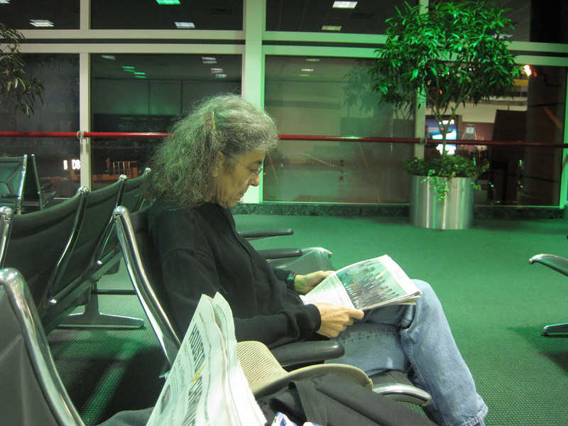 Waiting for our flight to La Paz at the Houston airport.