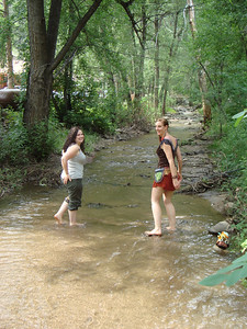 Kaia and Kiara go wading