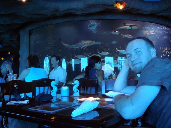 Inside Aquarium.  The view from our table.  The tank behind Brian is 50k gallons and has 3 species of shark.  You can see the leopard/zebra shark in this pic!!