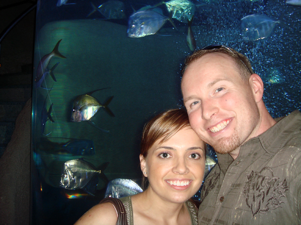 Inside Aquarium.  The tank behind us is the 2nd tallest in North America and is a 35ft cylinder.  The stairs wrap around it as you climb 3 stories up to the restaurant.