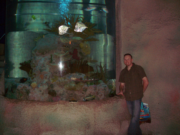 Inside Aquarium.  The fish tank is the 2nd tallest in North America.  It is a 35 ft tall cylinder and the stairs wrap around it for 3 stories as you walk up into the restaurant.