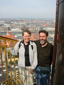 Climbing a church spire in Copenhagen, Denmark