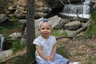 Big girl at the waterfall