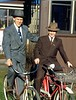 1951-elder pedersen and elder allred on bikes on kent's mission