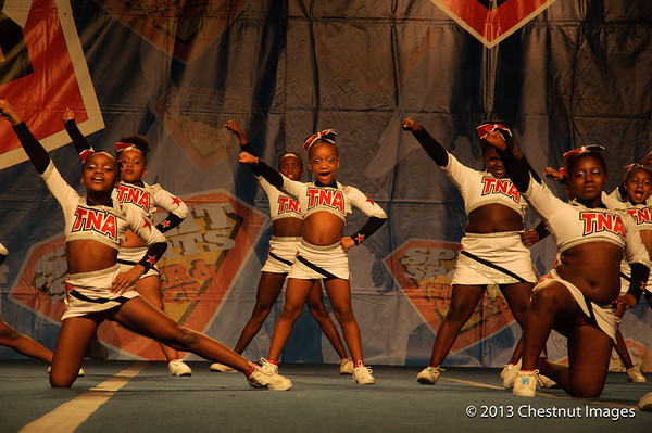 Kenya and fellow TNA Magnificent Mini shouts a cheer during routine at Myrtle Beach, SC competition