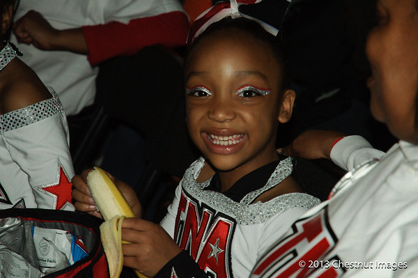 Kenya smiles with a glee of satisfaction after performing TNA's Magnificent Minis National Championship routinr at Myrtle Beach, SC competition