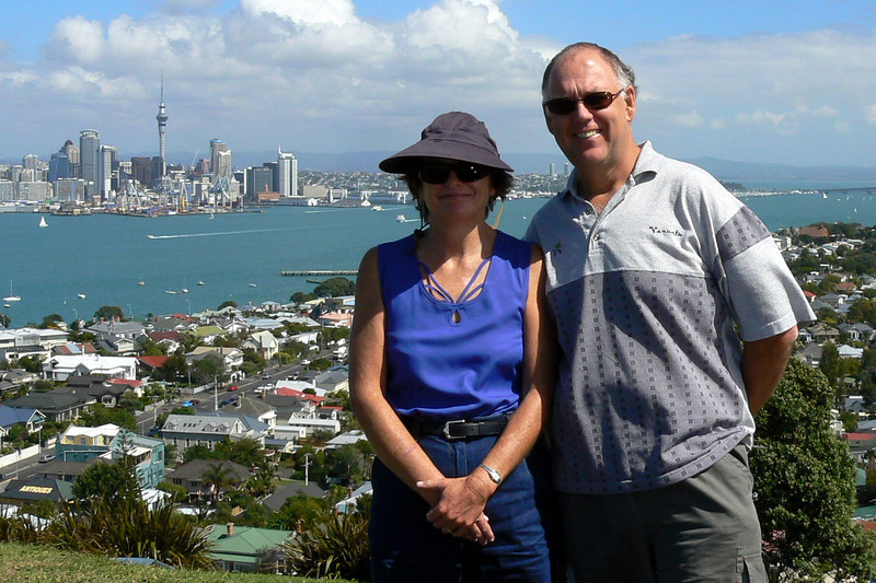 Robyn and Russell at Mt.Victoria overlooking Auckland City.