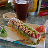 Tom had amazing sushi called the 7 Mile Ginger Roll - Tempura Shrimp, cream cheese, avocado, jalapeno masago, topped with Tuna and spicy mayo and Yuengling beer.