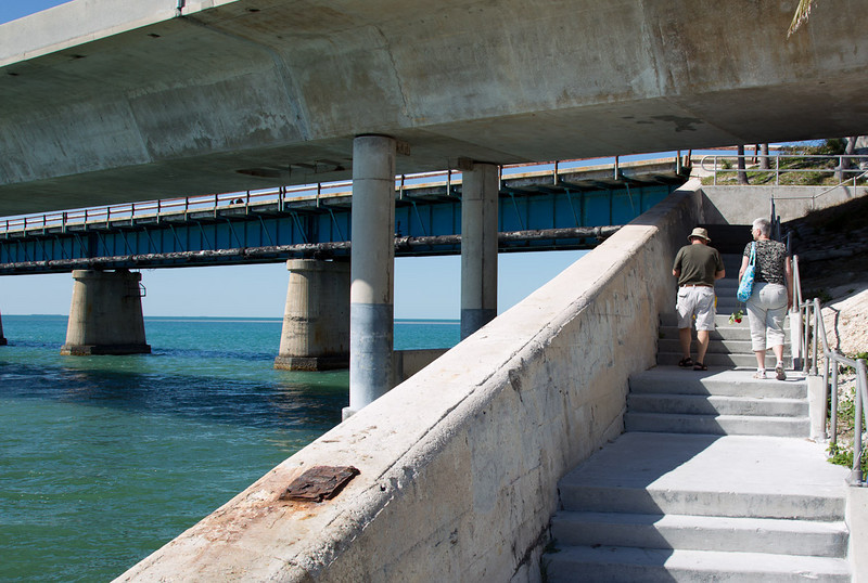 Going under US1 to check out the old 7 Mile Bridge.