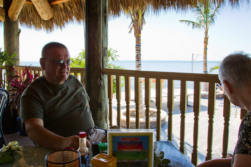 Sunset Grille & Raw Bar is located at 7 Knights Key Blvd., Marathon, FL. We had a great lunch, a fantastic view and enjoyable atmosphere. Jean is looking for the pair of porpoises that frequent the waters.