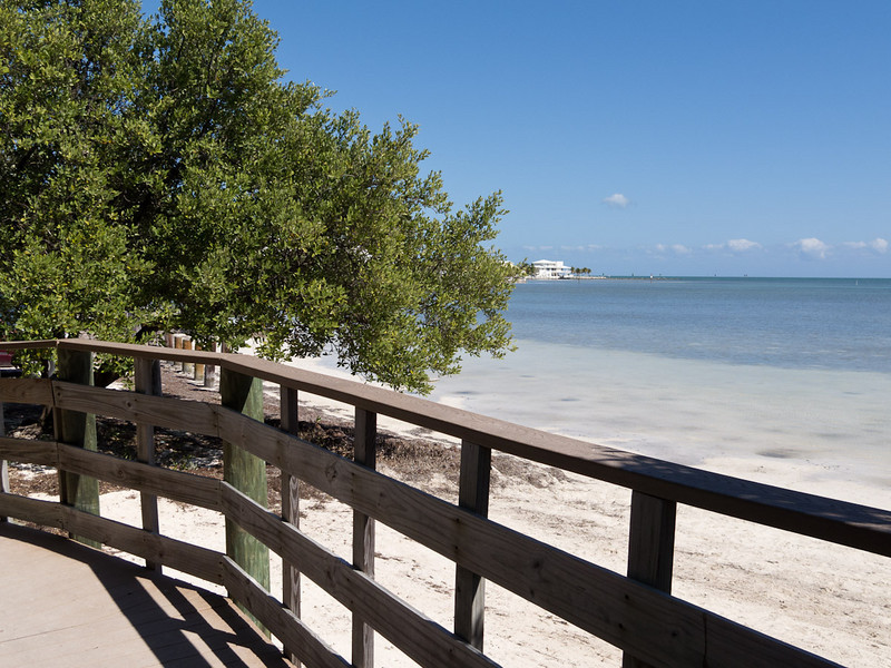 There is a nice boarwalk through the mangroves, parallel to the beach with covered picnic areas.