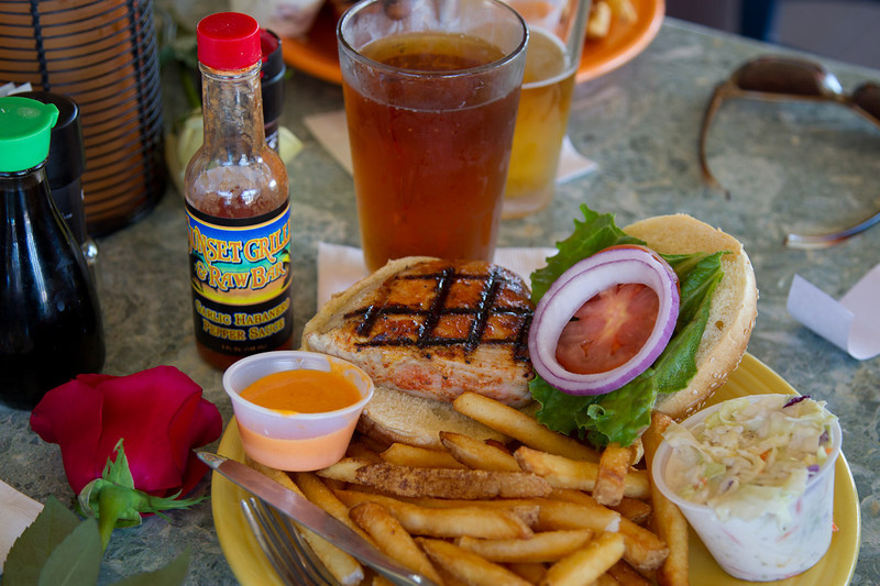 Bill is fitting in just right to the Key-Z way of life! He enjoying a Key West Sunset Ale, Ahi seared tuna sandwich with spicy mango mayo and habanero pepper sauce.