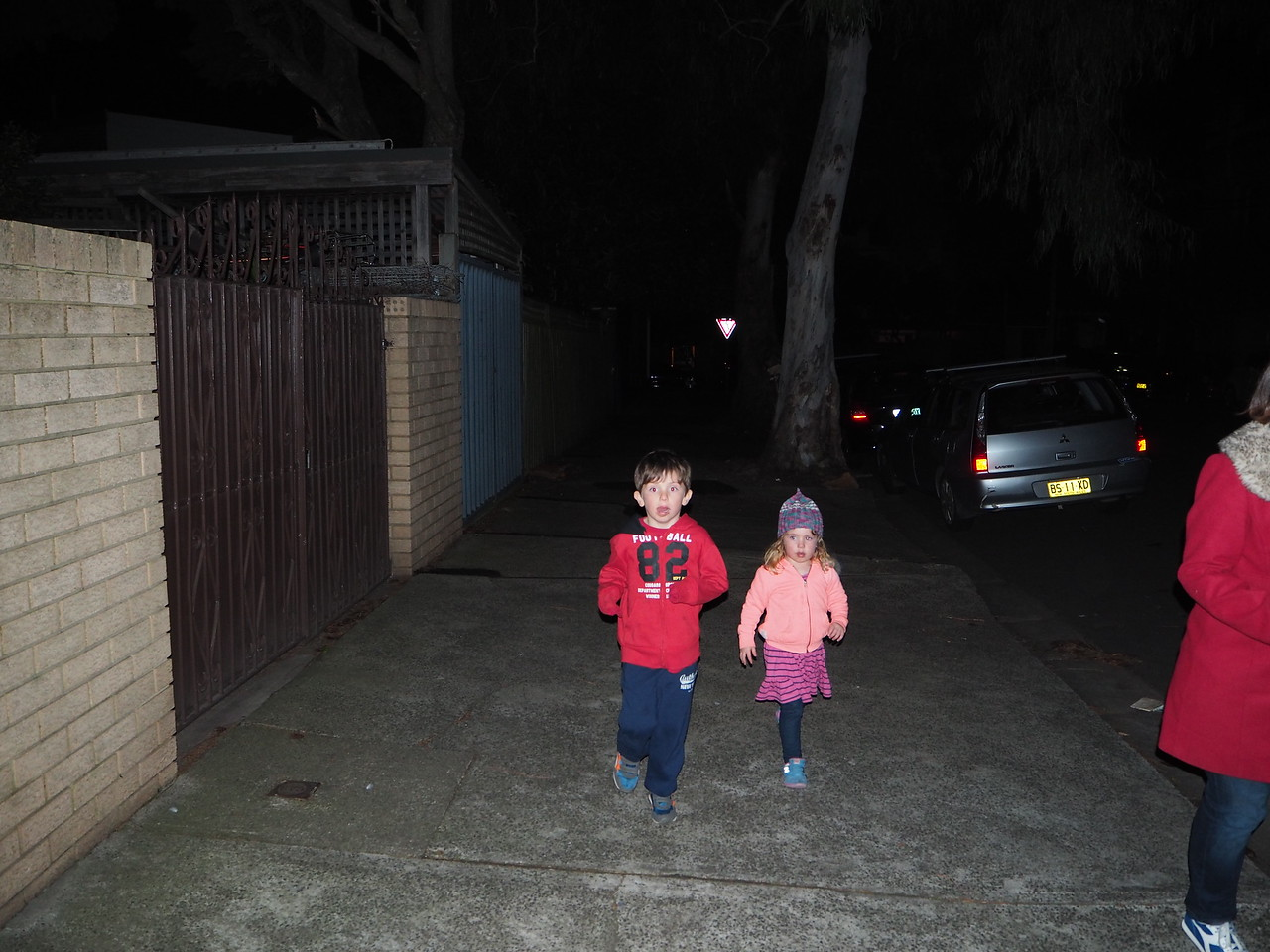 Kids walking home on a cold night